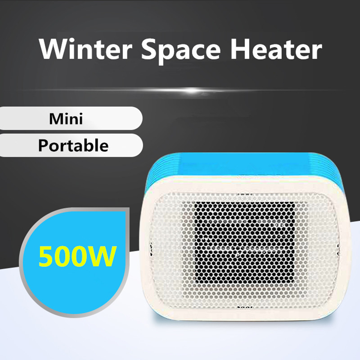 Portable 500W Electric Fan Winter Space Heater Mini Desktop Warm Convector