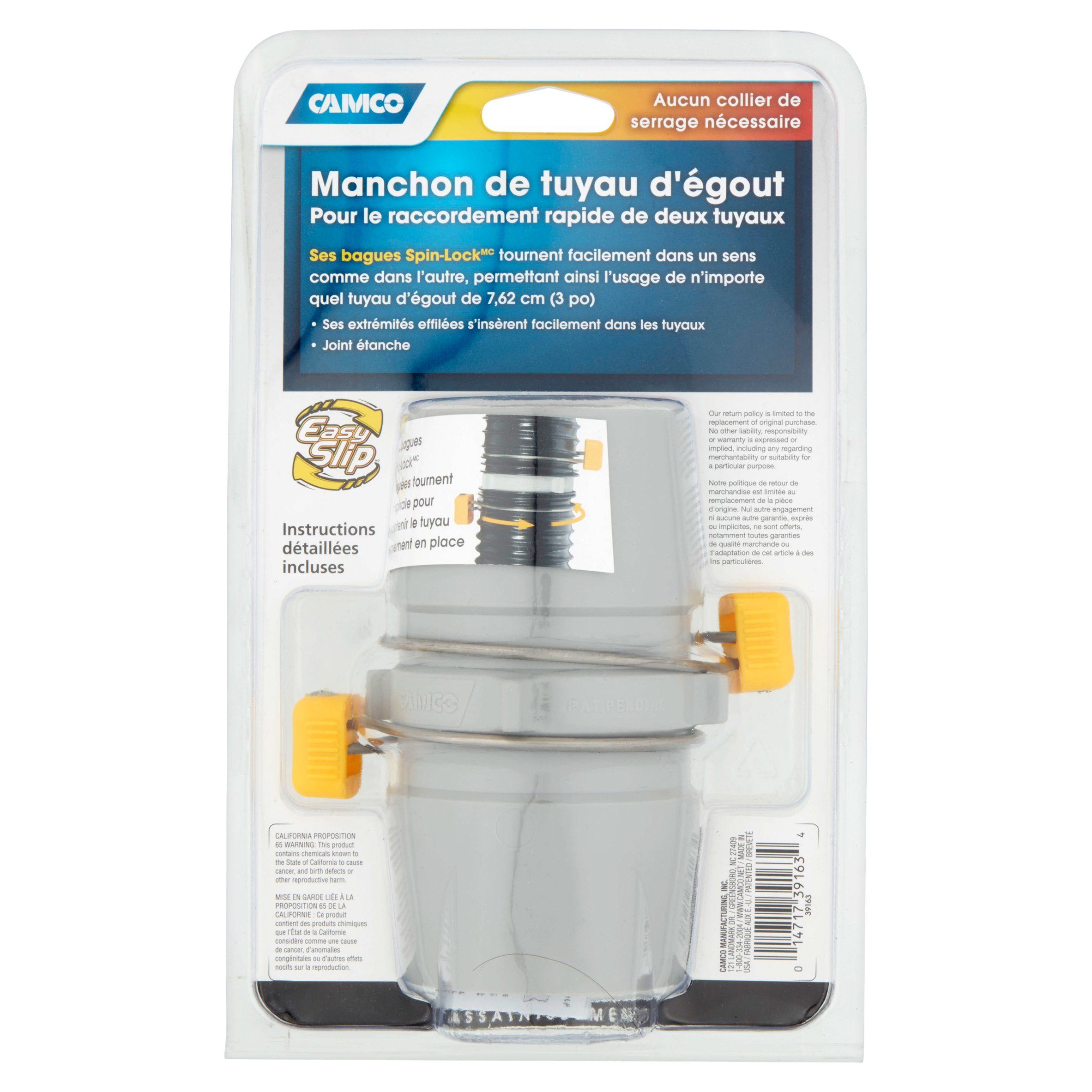 39163 Easy Slip Rv Sewer Hose Coupler Camco Mfg