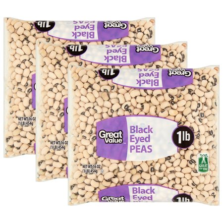 (3 Pack) Great Value Black Eyed Peas, 16 oz