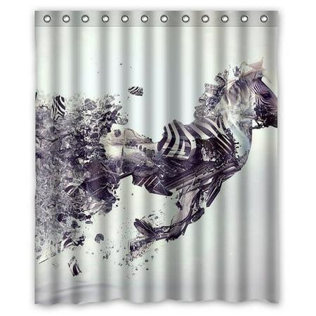 DEYOU Art Zebra Shower Curtain Polyester Fabric Bathroom Size 60x72 Inches