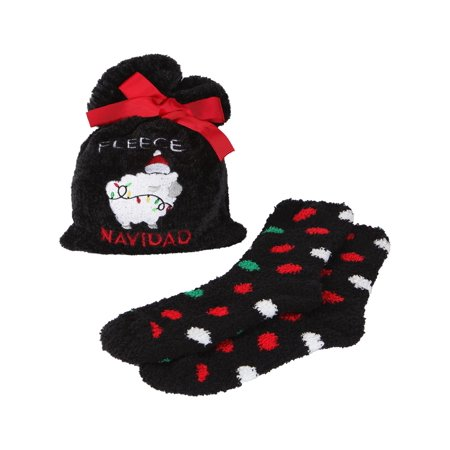 MeMoi Fleece Navidad Cozy Sock & Gift Bag Set | Clothing by MeMoi One Size / Black MGV05552
