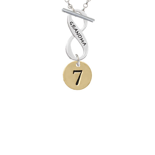 Gold Tone Disc 1/2'' Number - 7 - Grandma Infinity Toggle Chain Necklace