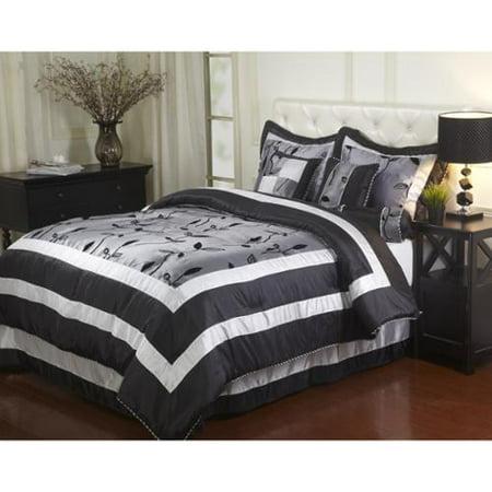 Pastora Silver 7 Piece Bedding Comforter Set Queen