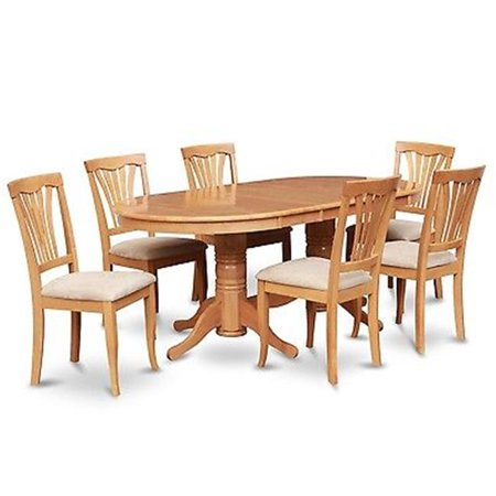 East West Furniture VAAV7-OAK-C Vancouver 7PC set with double pedestal Table with 17 in. butterfly leaf and 6 Padded seat chairs Double Carving Pedestal Table