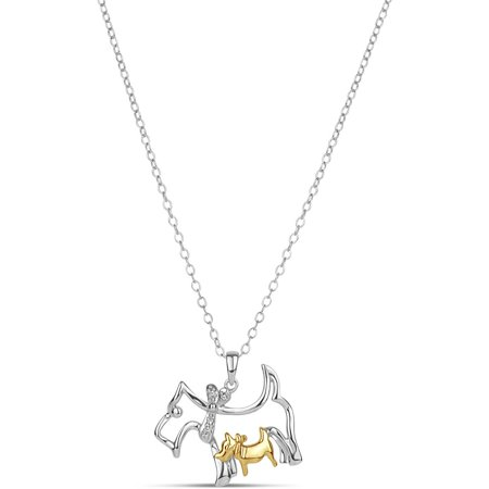 """.01 Carat T.W. Diamond Sterling Silver and 18kt Gold over Sterling Silver Dog and Puppy Pendant, 18"""""""