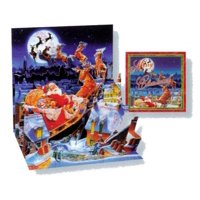 Christmas Greeting Card Santa's Sleigh Pop-Up