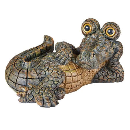 Lounging Crocodile Garden Statue, Hand-Painted Decoration for Yard or Garden