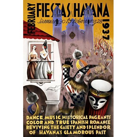 February Fiesta Havana 1937 Vintage Travel Canvas Art - (36 x 54)