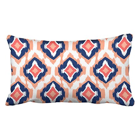 WinHome Decorative Decorative Modern peach navy coral Ikat Tribal Pattern Throw Pillow Covers Size 20x30 inches Two Side ()