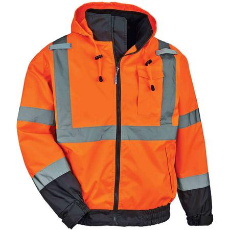 Ergodyne GloWear® 8379 Type R Class 3 Fleece Lined Bomber Jacket, Orange, 2XL