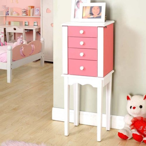 Pink and White Jewelry Armoire