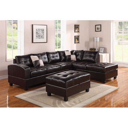 Sectional Sofa with 2 Pillows (Reversible), Espresso Bonded Leather Match - Bonded Leather + PU, Fram Espresso BLM ()
