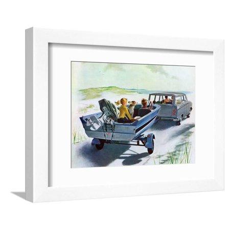 Hughes Framed (Highway Boatride, July 14, 1962 Figurative Family Summer Vacation Transportation Art Framed Print Wall Art By George)