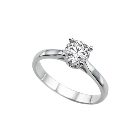 1/2 CT Diamond Engagement Ring in 14K White Gold (I-J color,I1-SI2 clarity) Solitaire Cathedral Round