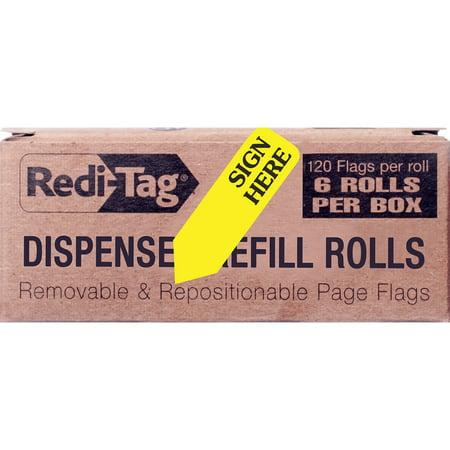 Redi-Tag, RTG91001, Sign Here Arrow Flags Dispenser Refills, 6 / Box, (Redi Tag Refill Box)