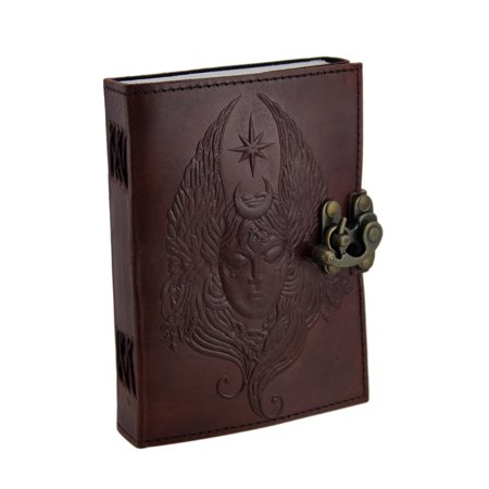 Embossed Brass Buckle - 5 X 7 In. Moon Goddess Embossed Brass Clasp Leather Journal