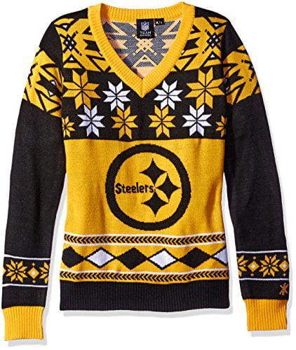 Forever NFL Women's V-Neck Sweater, Pittsburgh Steelers, ...