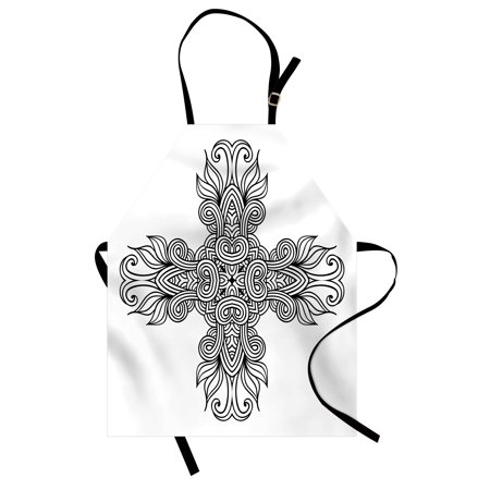 Celtic Apron Royal Old Celtic Knot Pattern with Curled Lace Leaf Figures Renaissance Times Art, Unisex Kitchen Bib Apron with Adjustable Neck for Cooking Baking Gardening, Black White, by Ambesonne