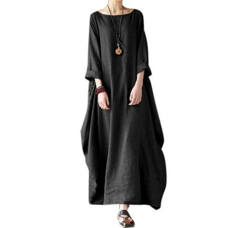 336f1de113 Viugreum - Women Plus Size Boho Dress Long Sleeve Linen Dress Loose Casual  Irregular Long Maxi Dress - Walmart.com