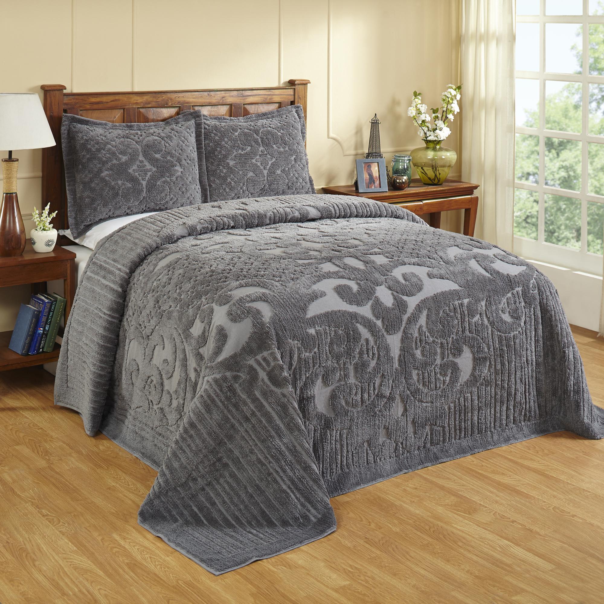 Ashton Chenille Bedspread Queen 102x110 Grey