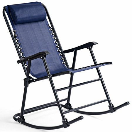 Costway Folding Zero Gravity Rocking Chair Rocker Porch Outdoor Patio Headrest Blue ()
