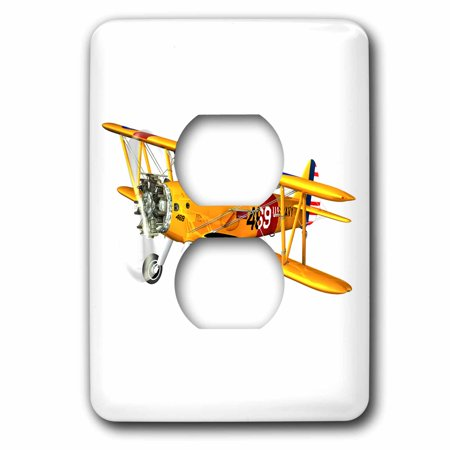 - 3dRose Yellow and Red Military Training Biplane - 2 Plug Outlet Cover