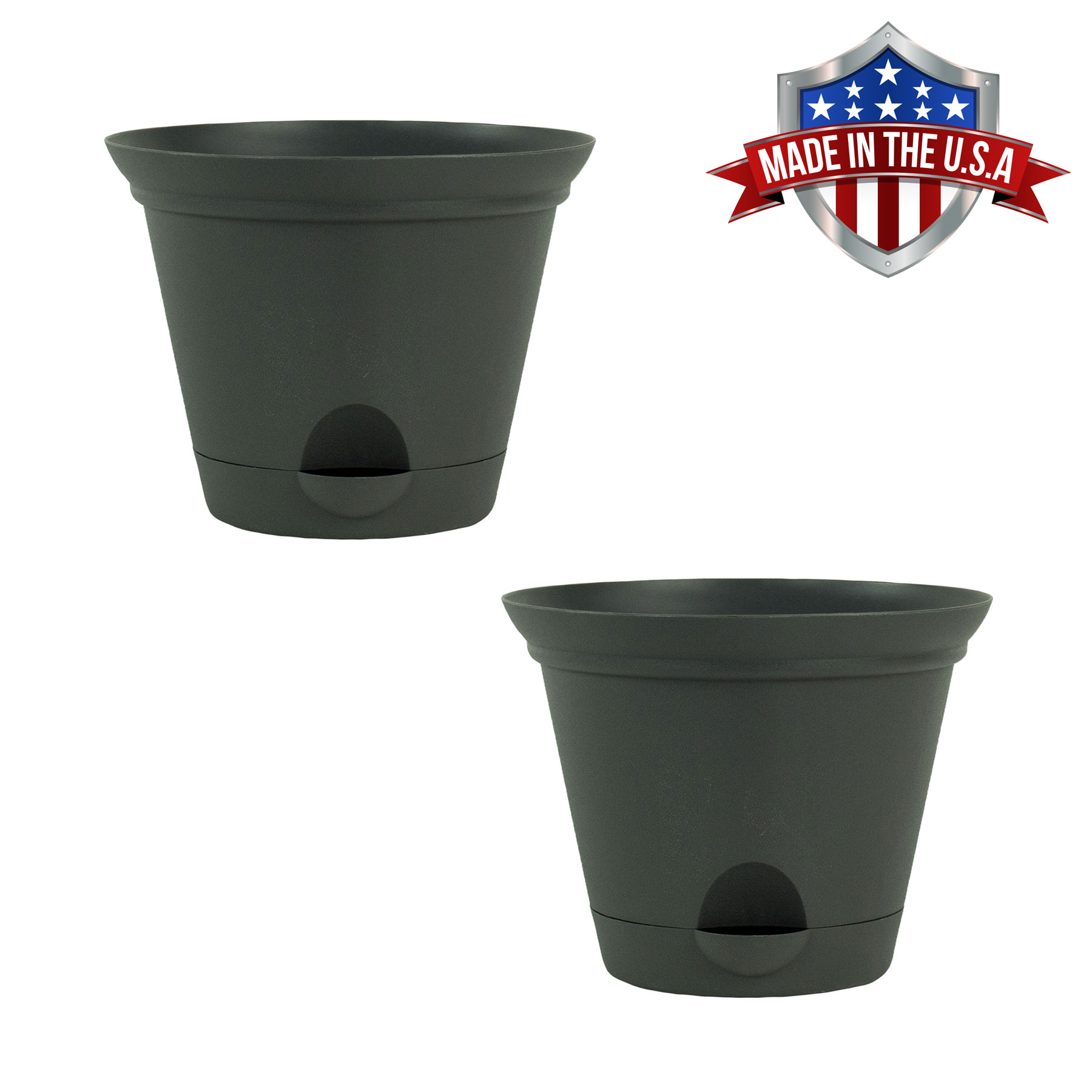 2 Pack of 9.5 Inch Flat Gray Plastic Self Watering Flare Flower Pot or Garden Planter