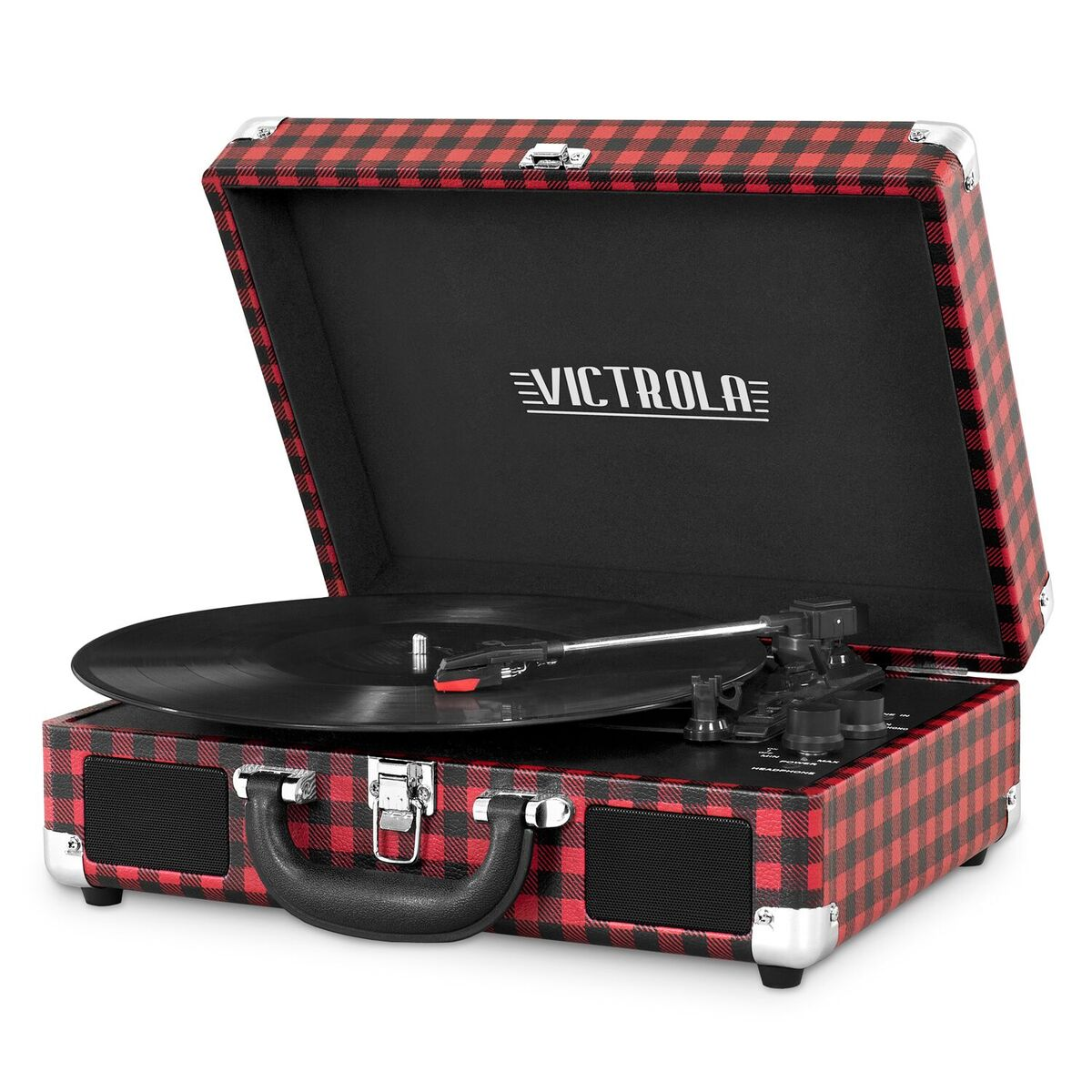Portable Victrola Suitcase Record Player with Bluetooth and 3 Speed Turntable, Plaid