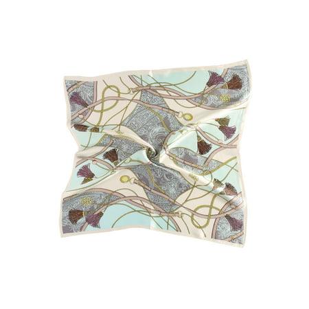 Women Fashionable Mint Fringe Print 100% Silk Square Scarf - image 2 of 4