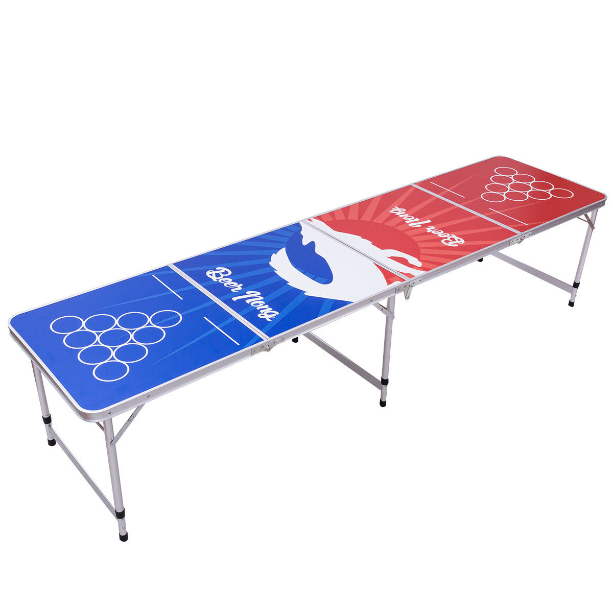 GHP Lightweight Aluminum Frame Waterproof 8' Foldable and Portable Beer Pong Table