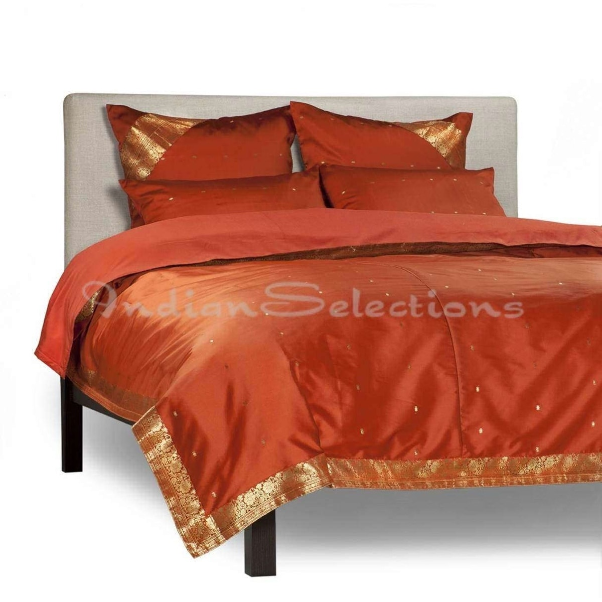 Rust 5 Piece Handmade Sari Duvet Cover Set With Pillow Covers Euro Sham Walmart Com Walmart Com