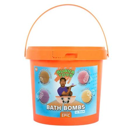 Guava Toys Bath Bombs Activity Kit, 4 Delicious Food Scents, L Size, 12 Pc -