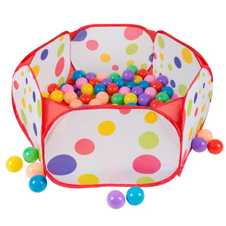 Kids Pop-up Six-sided Ball Pit Tent with 200 Colorful and Soft Crush-proof Non-toxic Plastic Balls by Hey! Play!