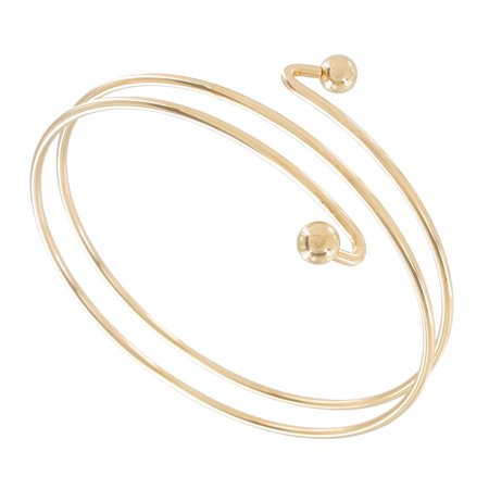 Spiral Bracelet - Double Spiral Gold Tone Metal Upper Arm Bracelet Ball End
