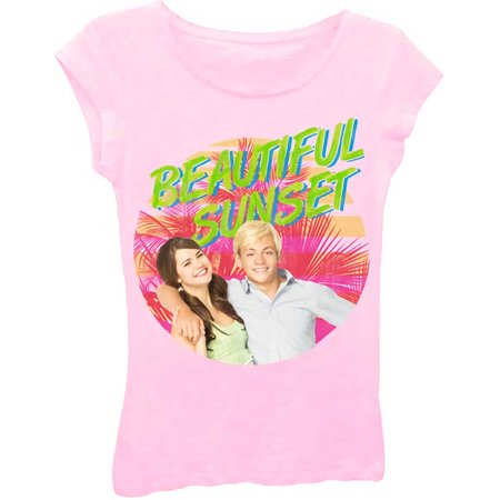 Teen Beach Movie Beautiful Sunset Juniors Pink T-Shirt | M - Teen Beach
