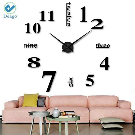 Deago Large DIY Wall Clock Modern 3D with Mirror Numbers Stickers for Home Living Room Office Decorations Gift (Black) Gift Set Clock