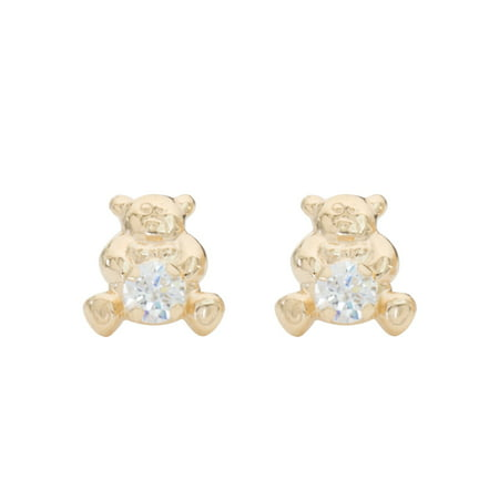 14kt Yellow Gold Teddy Bear 3MM Cubic Zirconia Stud Earrings