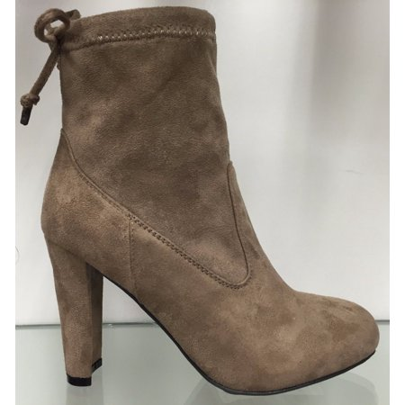 Amaya 8 Ankle High Tie Lace Up Pull On Block Chunky Heel Bootie Boot Shoe Taupe