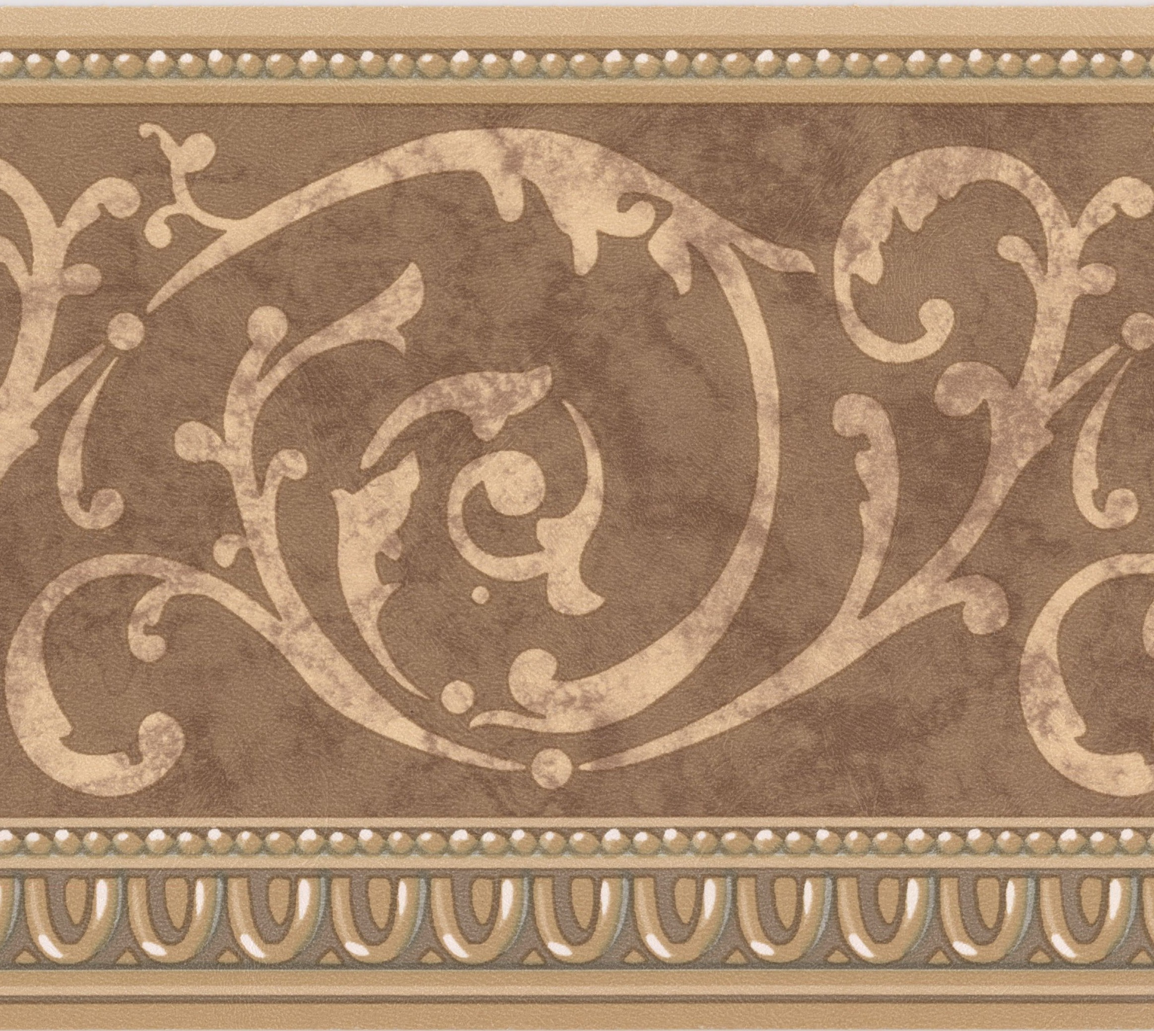 Wallpaper Border - Beige Vines Brown Damask Classic Wall ...