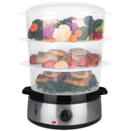 Best Choice Products 9.5qt 800W 3-Tier BPA-Free Stackable Electric Food Steamer w/ Stainless Steel Base, Egg Pockets, Rice Bowl, Timer & Auto