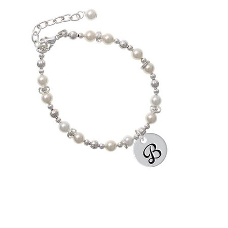 Silvertone Large Script Letter - B - 3/4'' Disc - Imitation Pearl Beaded (Script Name Bracelet)