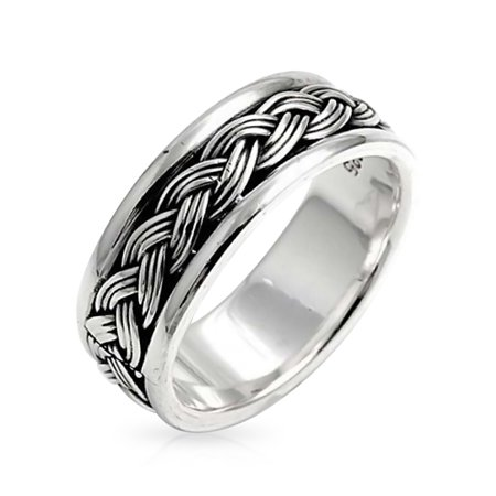 Mens Wheat Twisted Wide Rope Braid Band Ring For Women Beveled Edge Oxidized 925 Sterling Silver ()