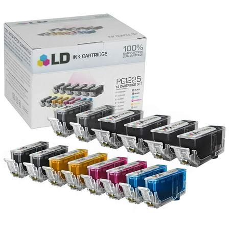 14 Compatible Ink - Canon PGI225 & CLI226 Compatible Set of 14 Ink Cartridges: 4 Pigment Black PGI225, 2 each of CLI226 B/C/M/Y/G