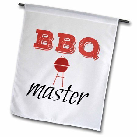 Flag Grille - 3dRose BBQ master, picture of a grill, black and red text - Garden Flag, 12 by 18-inch