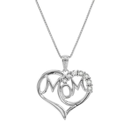 "Brilliance Fine Jewelry Diamond Accent Sterling Silver ""Mom"" in Heart Pendant, 18"" Necklace"