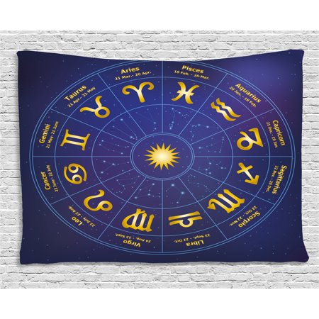 - Astrology Tapestry, Horoscope Zodiac Signs with Birth Dates in Circle with Star Dots Print, Wall Hanging for Bedroom Living Room Dorm Decor, 60W X 40L Inches, Royal Blue and Yellow, by Ambesonne
