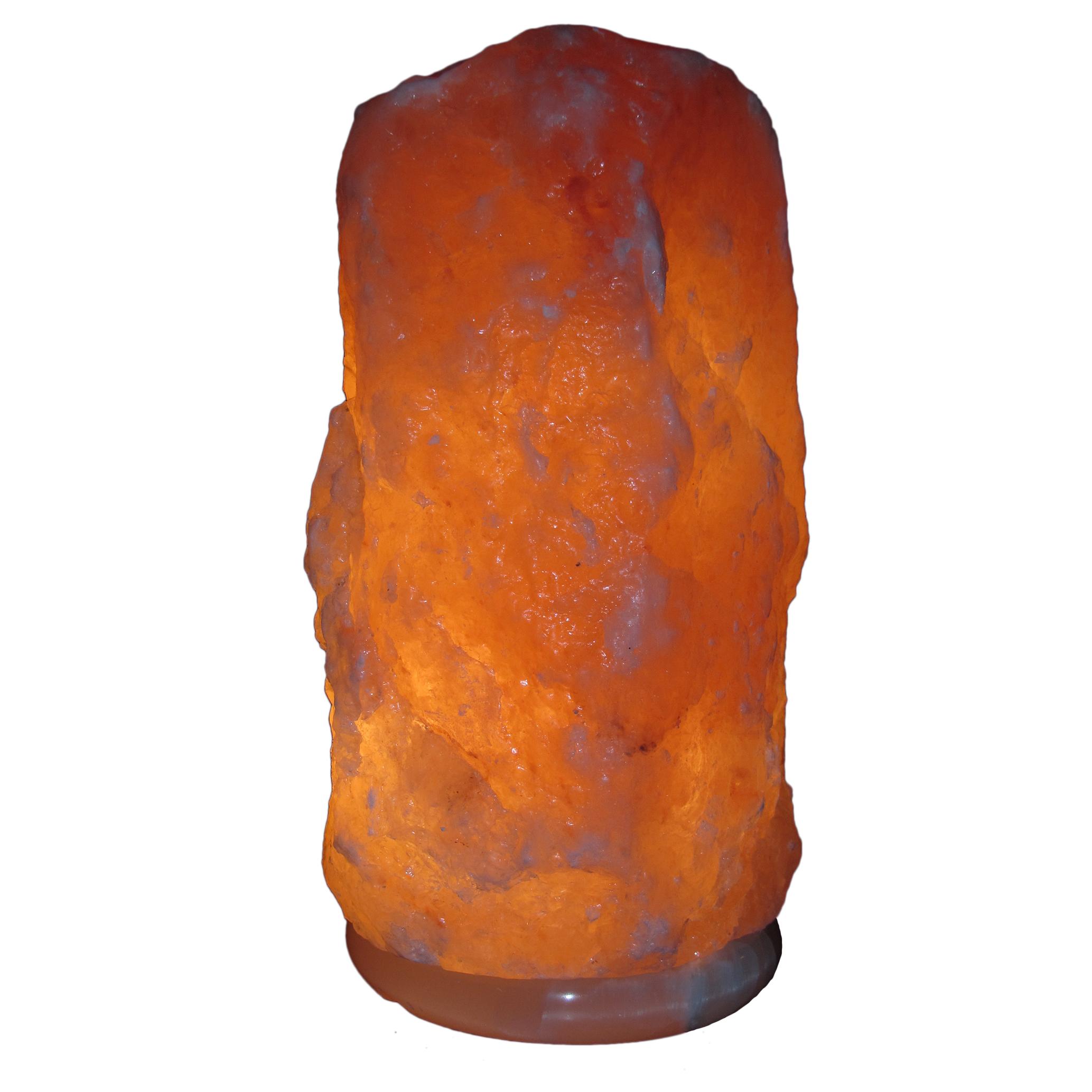 "Himalayan Rock Salt Natural Crystal Lamp, 11.5"" Tall – Soft Calm Therapeutic Light – Naturally Formed Salt Crystal Design On Onyx Marble Base – Tibetan Evaporated Rock Lamps – Dark Orange Hue"