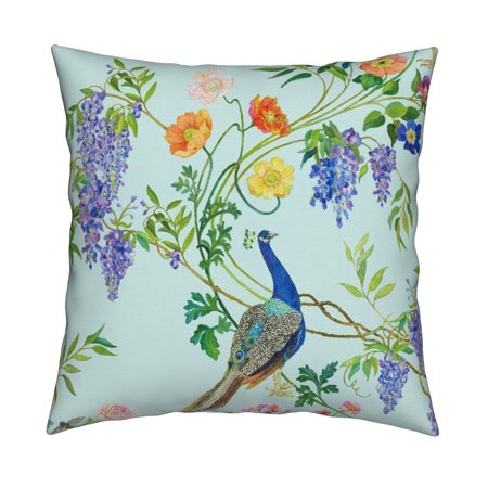 Optional Product Cover - Teal Chinoiserie Spring Floral Throw Pillow Cover w Optional Insert by Roostery