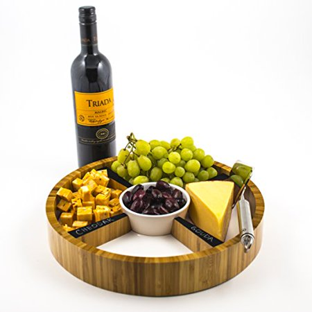 - Eco-Friendly Bamboo Cheese Tray with Removable Ceramic Dish & Chalkboard Dividers - For Cheese, Condiments, Appetizers and Hors D'oeuvres. Round, 13