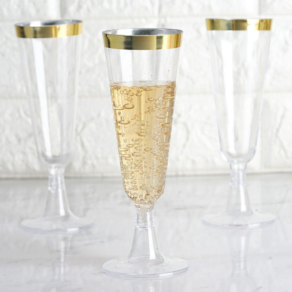 Efavormart 60 Pack 5oz Gold Rimmed Clear Champagne Flutes ...